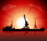 Vector illustration of the ship and four cranes at sunset