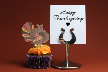 Happy Thanksgiving message with cop cake and turkey topper