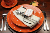 Orange theme Happy Thanksgiving table place setting