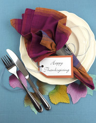 Modern Thanksgiving dining table place setting
