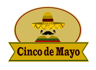 banner with cinco de mayo and man wearing sombrero