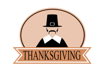 Thanksgiving holiday banner with pilgrim
