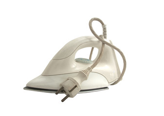 Modern electric iron on a white background
