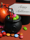 Halloween Trick or Treat witches cauldrons close up
