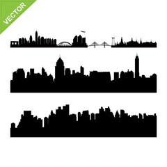 Bangkok skyline silhouettes vector