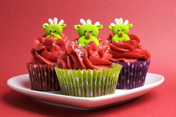 Christmas cupcakes with fun and quirky reindeer faces