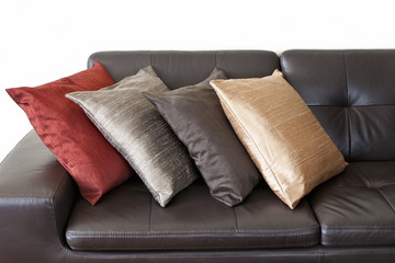 Cushions on leather sofa