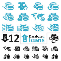 Vector database icon set for web and print part one