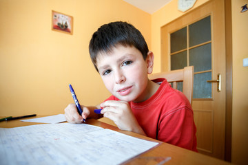 boy doing school homework