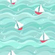 Colorful sea waves pattern with boats