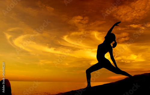 Sunrise yoga at beach