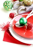Festive Christmas table setting with decorations