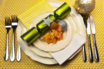 Yellow Christmas holiday table setting