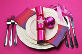 Pink Christmas table place setting