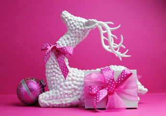 Pink theme Reindeer and Christmas gift decorations