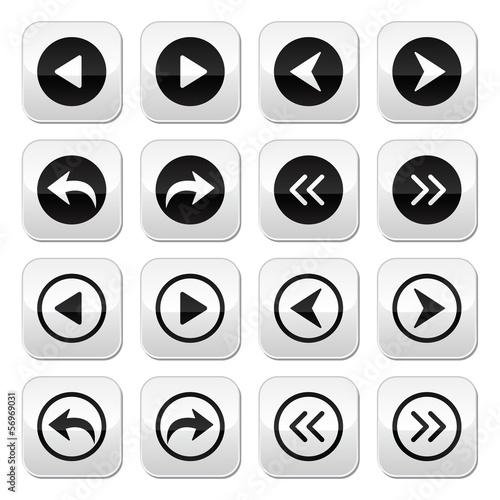 Previous, next arrows vector buttons set