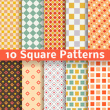 Different square vector seamless patterns (tiling).