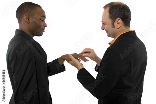 young black male and older Russian male getting married