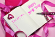 Постер, плакат: Pink Happy New Year resolutions in diary journal book