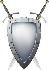 Two crossed swords that are behind the shield