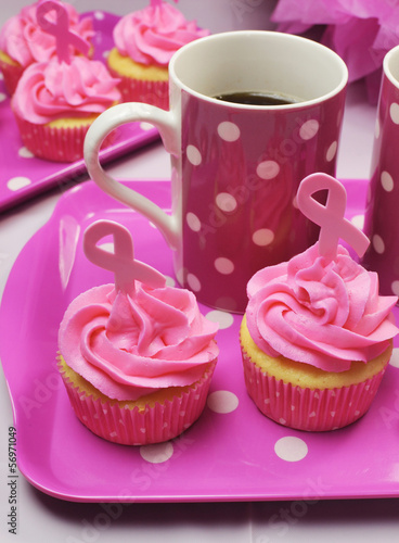Pink cupcakes with Pink Ribbon symbols and coffee cup. Vertical.