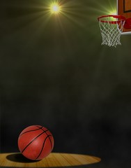 Basketball on the Floor and Hoop under Spotlights