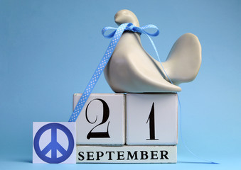 Dove and Peace Sign for International Day of Peace