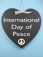 International Day of Peace message on blackboard