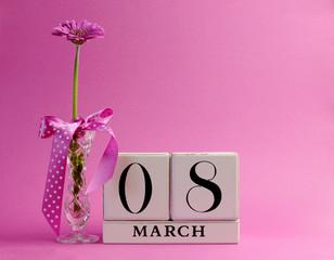 March 8. International Women's DAy vintage calendar