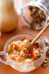 boiled rice with pumpkin and nuts