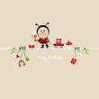 Ladybug Bouquet & Symbols Beige