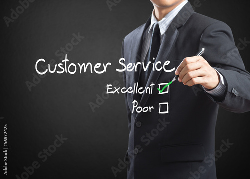 Tick placed in excellent checkbox on customer service