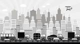 Traffic jam in the city (black & white)