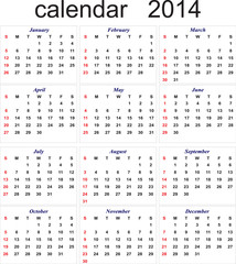 New Year 2014 calendar for all months