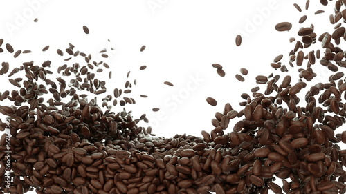 Roasted Coffee beans falling and mixing with slow motion. Alpha