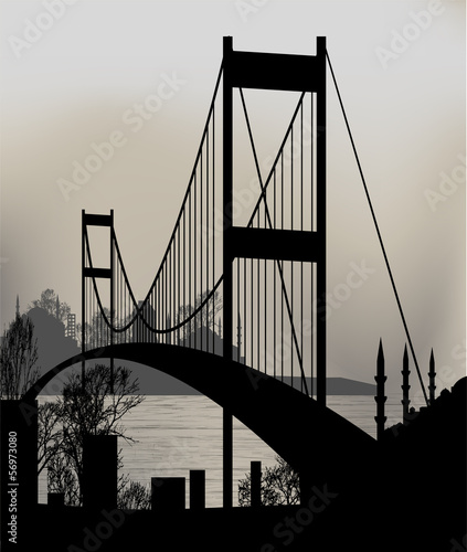 silhouette of Istanbul and the Bosphorus Bridge