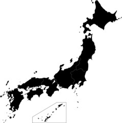 Black Japan map
