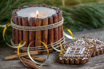 Christmas cookies with a  candle made from vanilla sticks