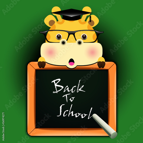 Funny giraffe around a blackboard