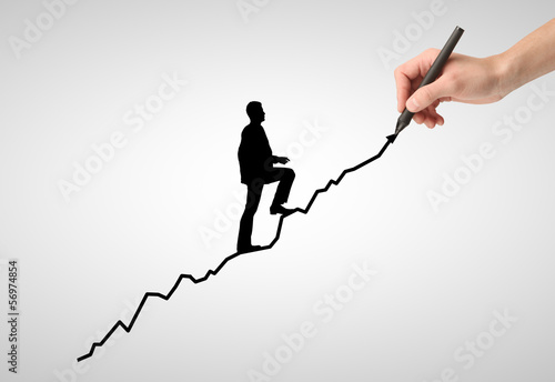 businessman walking on arrow