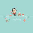 Ladybug Bouquet & Symbols Retro