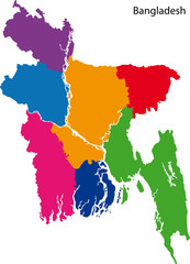 Coloful Bangladesh map
