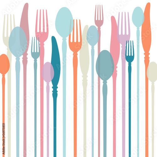 Cutlery Background Retro Colours