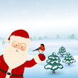 Santa Claus hold bird in winter forest, vector