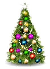 Christmas vector  tree against white background