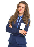 Portrait of business woman with badge looking on copy space