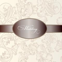 Elegant wedding  invitation card in vintage style