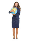 Full length portrait of smiling business woman hugging globe