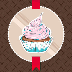 Vector card with a cupcake on circle banner