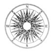 Close up of vintage wind rose isolated on white background
